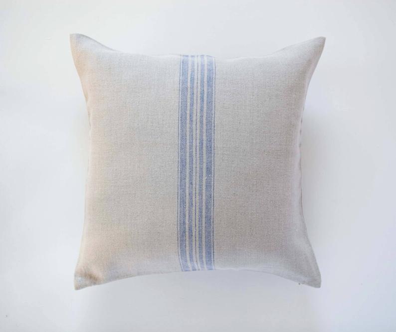 Grain sack pillow Farmhouse throw pillow covers   grain sack image 0