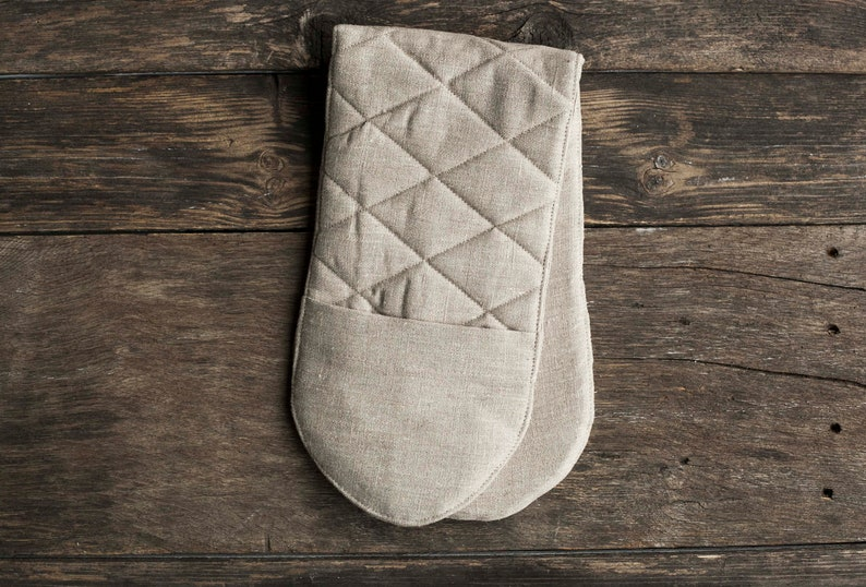 Natural linen potholders loop or Oven Mitt Long potholder Natural