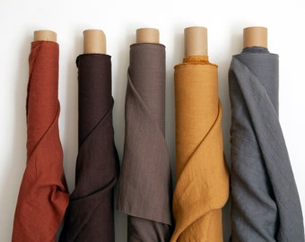 Linen fabric by the yard,  pure 100% linen fabric, 205gsm (6.05 oz/yd2). Linen fabric by the meter, softened linen fabric