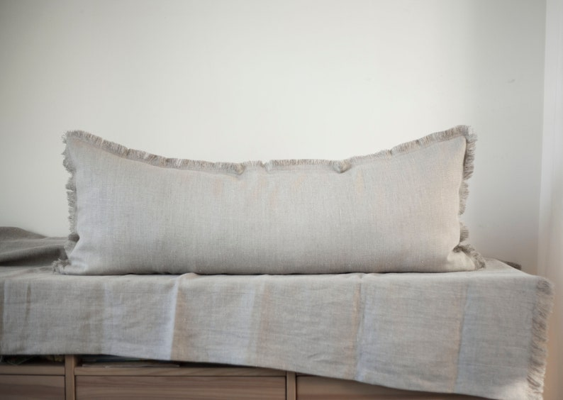 Raw edge linen pillow rough natural linen pillowcase for image 0