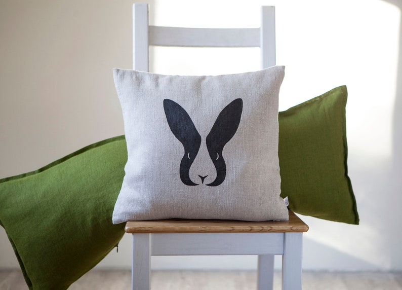 Bunny head pillowcase pillow cover 16x16 or 18x18 inch size image 0