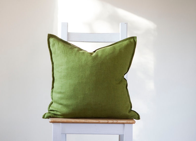 Green pillow cover organic cushion in custom size and 4 green image 0