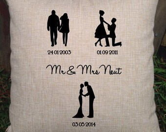 silhouette square timeline couples pillow perfect for bridal shower cotton anniversary gift wedding gift engagement gift