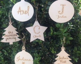 bulk buy 10x adorable customised wooden ornaments etched with names first christmas family names create your own too 3 shapes available