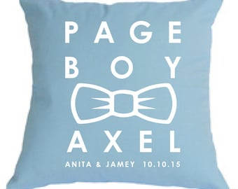 Personalised PAGE BOY bow tie pillow, gorgeous gift for asking your bridal party, for keepsake or to carry in the church.