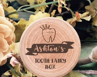Funky tooth fairy box with name crowned tooth. Perfect keepsake box for all baby teeth. Great birthday gift.