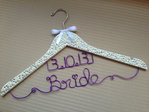 Stunning personalised clear crystal encrusted wedding hanger perfect for brides imagine how gorgeous your dress will look hanging on this