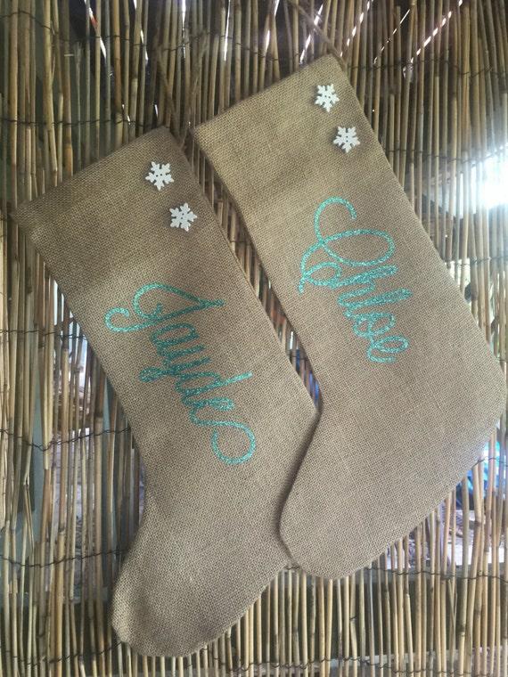 974751424952 CUSTOM GLITTER name 100% hessian christmas stockings in