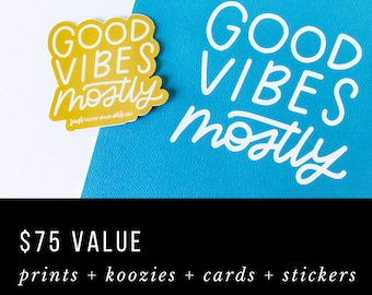 SALE! Mystery Bundle | Value Pack of Art Prints, Cards, Buttons, Stickers, Can Cooler