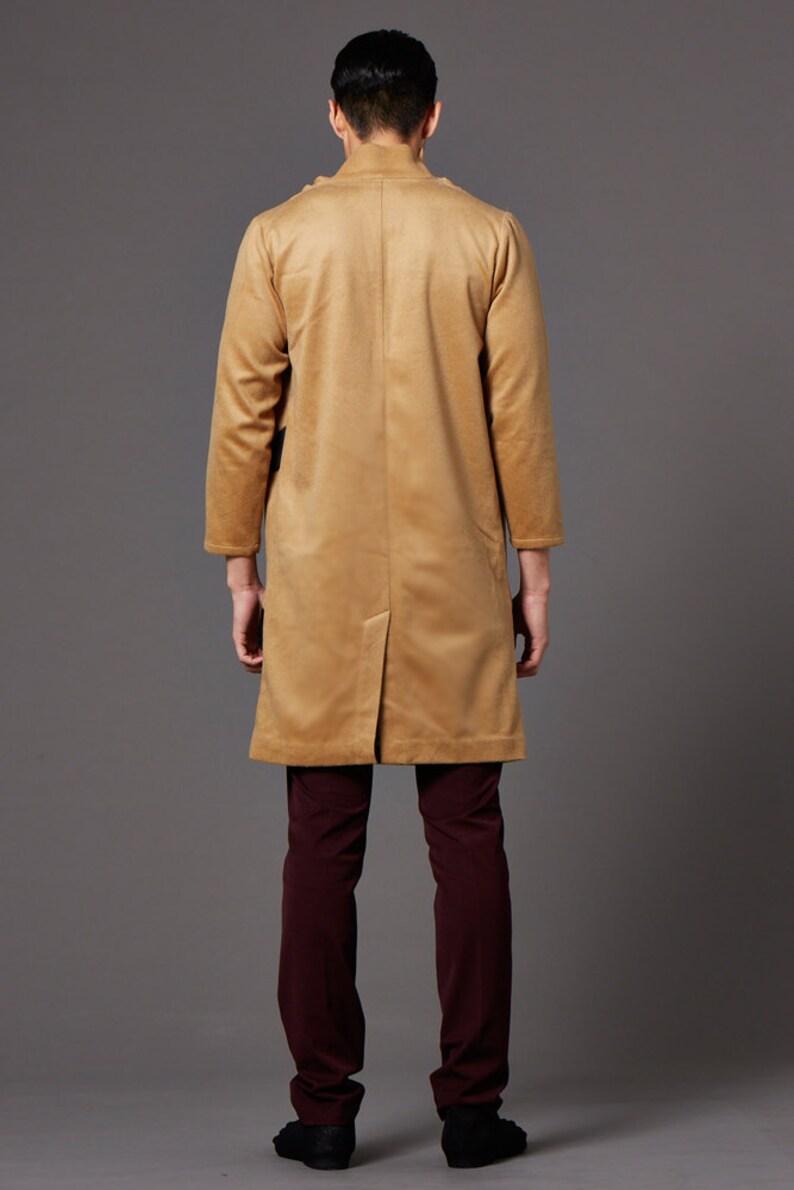 Wool longline turtle neck coat Brown