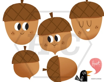 Kawaii Acorn Clip Art for Personal and Commerical Use