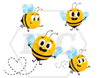 Kawaii Spring Bumble Bee Clip Art for Personal and Commerical Use