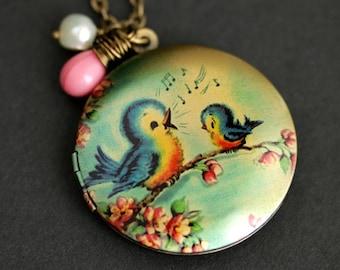 99e60467f Singing Bird Locket Necklace. Cartoon Bird Necklace. Bluebird Necklace with  Pink Teardrop and Fresh Water Pearl Charm. Bronze Locket.