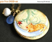 HOLIDAY SALE Cat on the Moon Locket Necklace. Napping Cat Necklace with Sky Blue Teardrop and Fresh Water Pearl Charm. Moon Necklace. Bronze
