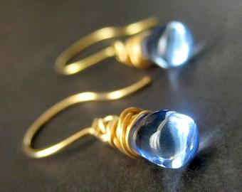 14K GOLD Wire Wrapped Earrings - Sky Blue Teardrop Earrings. Handmade Jewelry.