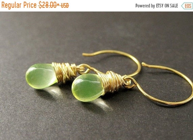 VALENTINE SALE Wire Wrapped Earrings  Lemon Lime Clear image 0