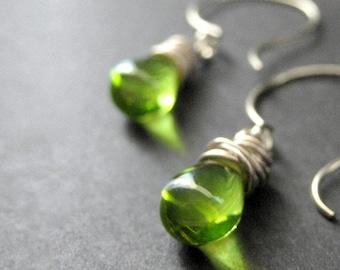 STERLING SILVER Wire Wrapped Sterling Earrings - Leaf Green Clear Drop Earrings. Dangle Earrings. Handmade Jewelry.