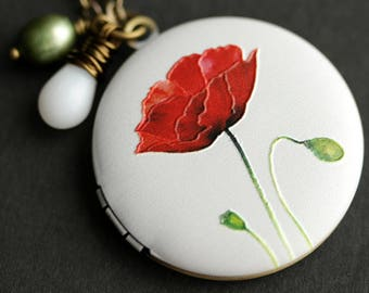 Red Poppy Locket Necklace. Memorial Day Poppy Flower Necklace. Poppy Necklace with White Teardrop and Green Pearl Charm. Photo Locket.