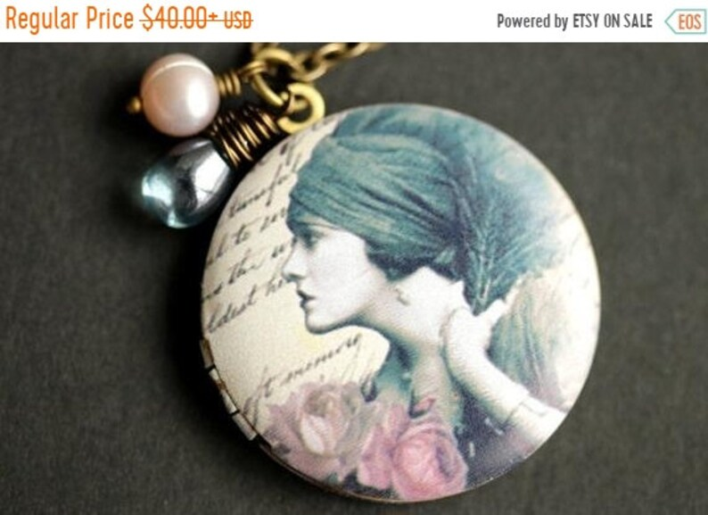 VALENTINE SALE Dreaming Gypsy Locket Necklace. Gypsy Necklace image 0