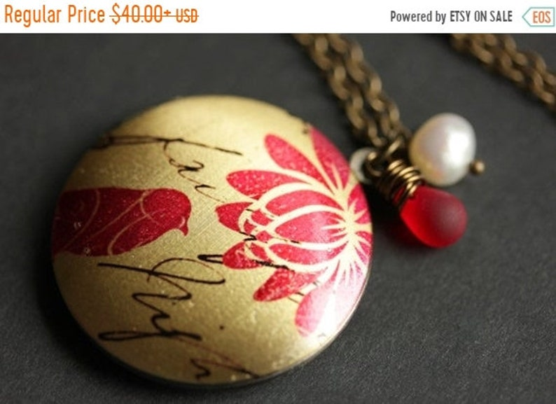 HALLOWEEN SALE Bird Locket Necklace. Red Bird Necklace with image 0