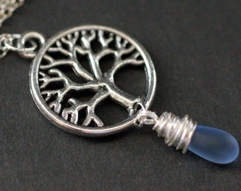 Silver Tree Necklace. Tree of Life Necklace. Wire Wrapped Frosted Blue Teardrop Necklace. Handmade Jewellery.