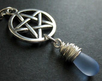 Wiccan Jewelry. Frosted Blue Teardrop Pendant Necklace. Silver Pentacle Necklace. Handmade Jewelry.