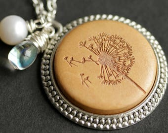 Wood Dandelion Necklace. Make a Wish Pendant. Wooden Necklace with Glass Teardrop and Fresh Water Pearl. Silver Necklace. Handmade Jewelry.
