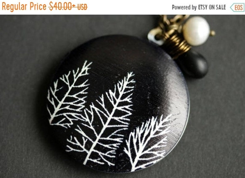 HALLOWEEN SALE Black and White Tree Locket Necklace. Forest image 0