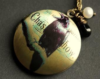 Raven Locket Necklace. Black Bird Necklace. Crow Locket with Black Teardrop and Fresh Water Pearl. Bird Necklace. Handmade Goth Jewelry.