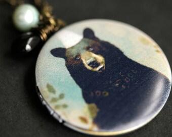 Black Bear Locket Necklace. Woodland Bear Necklace with Black Teardrop and Aqua Fresh Water Pearl. Wildlife Necklace. Handmade Jewelry.