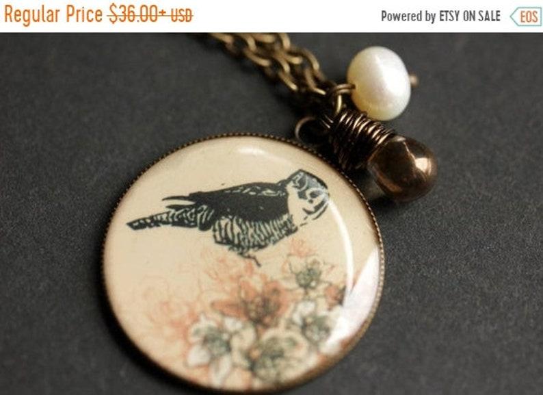 VALENTINE SALE Owl Necklace. Wildlife Necklace. Owl Pendant image 0