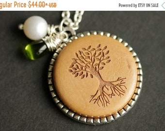 HALLOWEEN SALE Wood Tree Necklace. Tree of Life Pendant. Wooden Necklace with Glass Teardrop and Fresh Water Pearl. Silver Necklace. Handmad