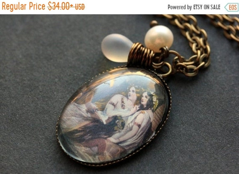 HALLOWEEN SALE Sister Necklace. Sister Pendant with Frosted image 0
