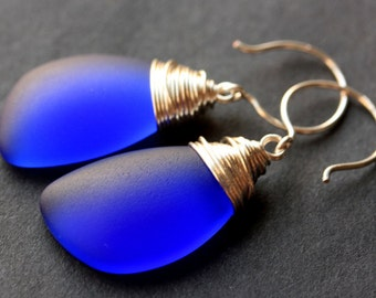 Cobalt Blue Seaglass Earrings. Cobalt Blue Earrings. Cobalt Blue Sea Glass Earrings. Wire Wrapped Wing Earrings. Handmade Jewelry.