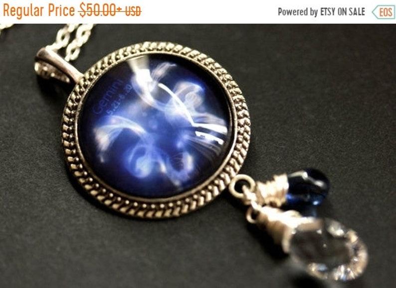 HALLOWEEN SALE Gemini Necklace. Cobalt Blue Zodiac Astrology image 0