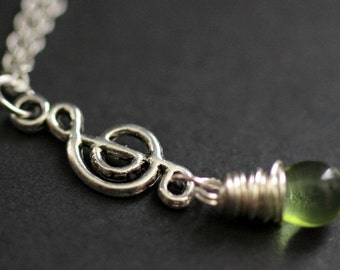 Treble Clef Necklace. Music Necklace. Green Teardrop Necklace. Musical Note Necklace in Silver. Handmade Jewelry.