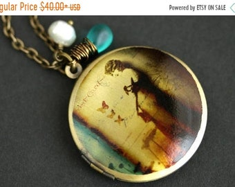HALLOWEEN SALE Provocative Woman Locket Necklace. 1920s Vintage Woman Necklace with Bright Turquoise Teardrop and Fresh Water Pearl. Bronze