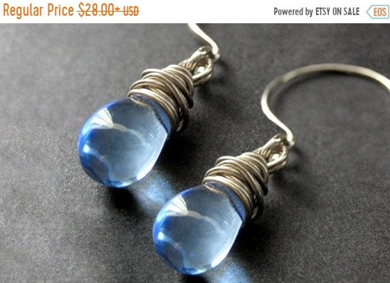 HALLOWEEN SALE Wire Wrapped Earrings  Sky Blue Clear Teardrop image 0