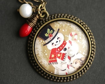 Happy Snowman Necklace. Christmas Pendant. Holiday Necklace with Red Coral Teardrop and Pearl Charm. Christmas Necklace. Bronze Necklace.