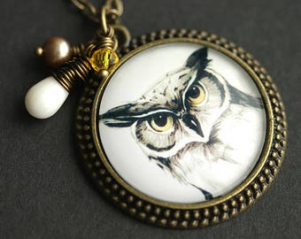 Horned Owl Necklace. Gray Owl Pendant. Bird Necklace with White Coral Teardrop, Yellow Crystal, Taupe Fresh Water Pearl. Bronze Necklace.