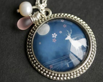 Blue Moon Deer Necklace. Night Sky Deer Pendant with Fresh Water Pearl Charm and Frosted Pink Teardrop. Blue Necklace. Handmade Necklace.