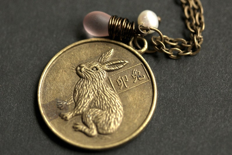 Rabbit Chinese Zodiac Necklace. Chinese Astrology Necklace. image 0