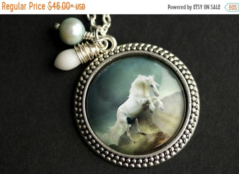 VALENTINE SALE White Horse Necklace. Horse Pendant with Mint image 0