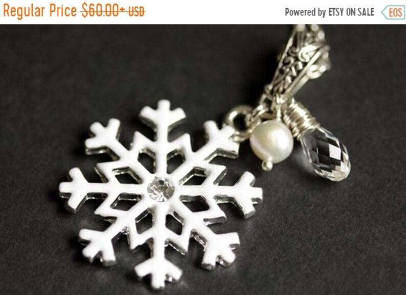 VALENTINE SALE Snowflake Pendant. White Snowflake Necklace image 0