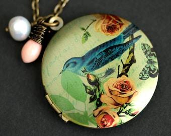 Blue Bird Locket Necklace. Bluebird Necklace. Bird Necklace with Pink Coral Teardrop and Pearl Charm. Bronze Locket. Photo Locket.