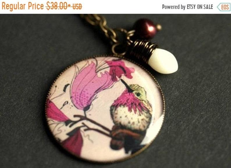VALENTINE SALE Purple Hummingbird Necklace. Purple Bird image 0