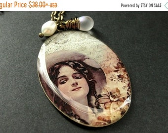 HALLOWEEN SALE Western Woman Necklace. Old West Necklace with Frosted Teardrop and Fresh Water Pearl. Handmade Jewelry.