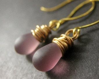 14K GOLD Drop Earrings - Purple Frosted Glass Wire Wrapped Earrings. Dangle Earrings. Handmade Jewelry.