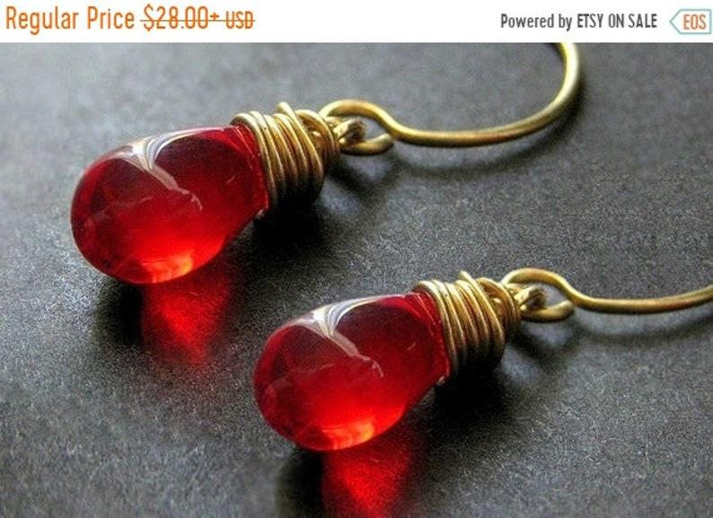 HALLOWEEN SALE Teardrop Earrings: Wire Wrapped Blood Red image 0