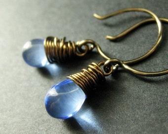 BRONZE Earrings - Baby Blue Earrings with Glass Teardrops, Wire Wrapped Handmade Earrings. Handmade Jewelry.
